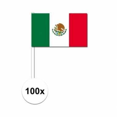 Mexicaanse 100x mexico decoratie papieren zwaaivlaggetjes
