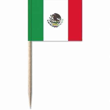 Mexicaanse 100x vlaggetjes prikkers mexico 8 cm hout/papier