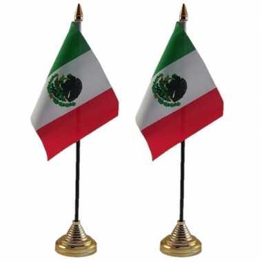 Mexicaanse 2x stuks mexico tafelvlaggetjes 10 x 15 cm met standaard