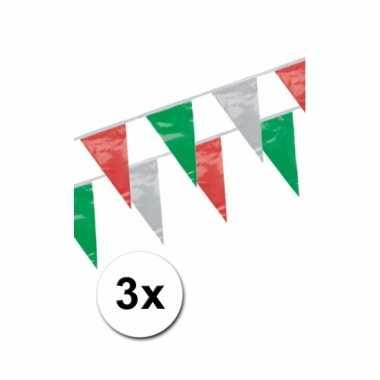 Mexicaanse  3x Italie vlaggenlijnen 4 meter