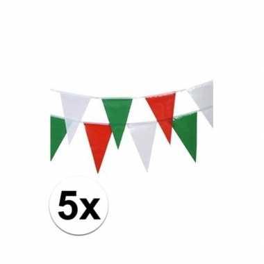 Mexicaanse 5x italie vlaggenlijnen 4 meter