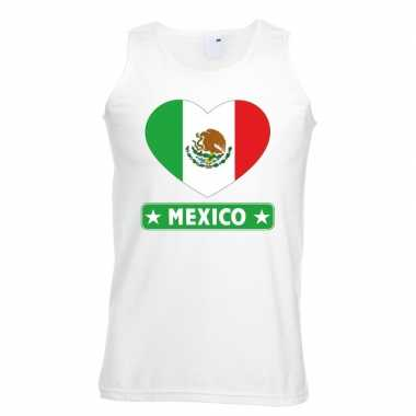 Mexicaanse mexico hart vlag mouwloos shirt wit heren