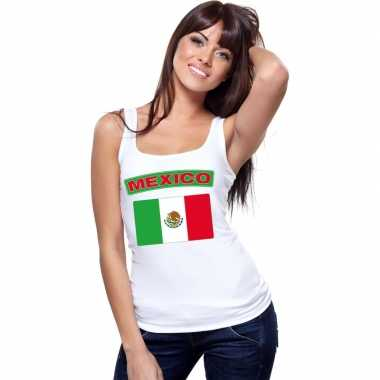 Mexicaanse mexico vlag mouwloos shirt wit dames