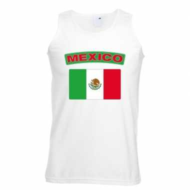 Mexicaanse mexico vlag mouwloos shirt wit heren