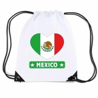 Mexicaanse nylon sporttas mexico hart vlag wit