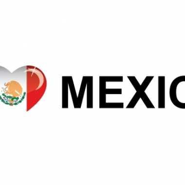 Mexicaanse set van 10x stuks landen vlag sticker i love mexico 19.6 cm