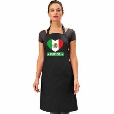 Mexicaanse vlag in hart keukenschort/ barbecueschort zwart heren en