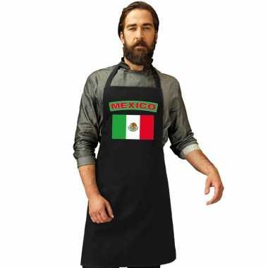Mexicaanse vlag keukenschort/ barbecueschort zwart heren en dames