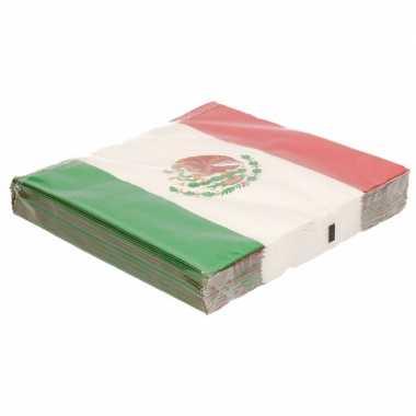 Mexicaanse vlag thema servetten 40 stuks