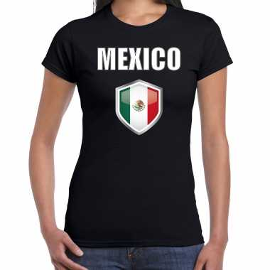 Mexico fun/ supporter t-shirt dames met mexicaanse vlag in vlaggenschild
