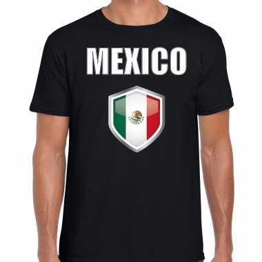 Mexico fun/ supporter t-shirt heren met mexicaanse vlag in vlaggenschild