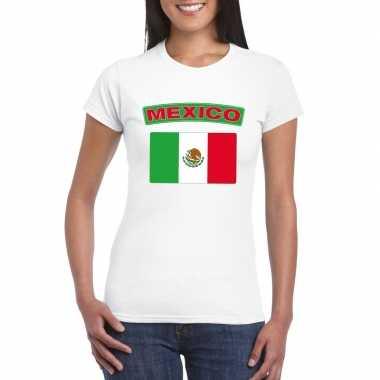 T-shirt mexicaanse vlag wit dames