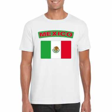 T-shirt mexicaanse vlag wit heren